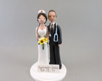 Custom Handmade Doctor And Nurse Wedding Cake Topper