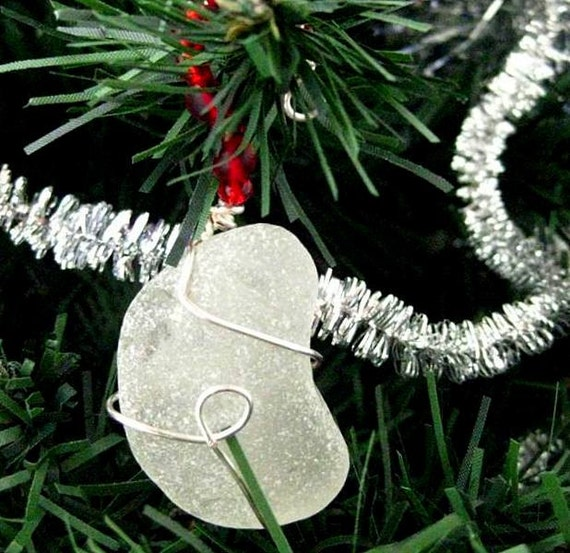 Irish Ornament. Sea Glass Christmas Decoration. White & Red