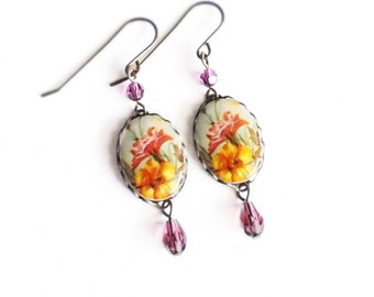 Floral Cameo Earrings Vintage Glass Flower Cabochons Orange Purple Victorian Jewelry Gift For Women