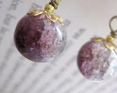 Half-and-Half Berries, in Purple and Clear - Earrings