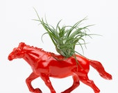 Horse Planter with Air Plant Room Decor, Dorm Room Geekery, Red, Table Ornament, Desktop Accessory