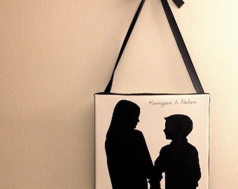 Custom Silhouette Portrait - 12x12 Canvas With Bow and Ribbon - Present for Mom or Dad - Hung With Unique Ribbon Bow -  Elegant Gift