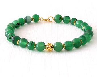 Gold Gemstone Bracelet - Quartz - Kelly Green, Gold - The Stoned: Speckled Filigree 6mm Round