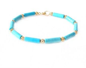 Gold Gemstone Bracelet - Magnesite - Turquoise, Gold - The Stoned: Filigree Tubes