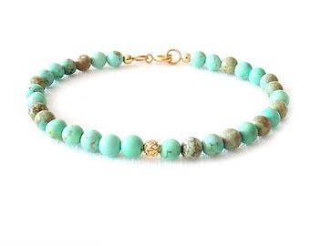 Gold Gemstone Bracelet - Magnesite - Green, Brown, Gold - The Stoned: Filigree 5mm Round