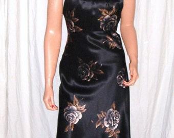 Vintage Nine West Black Beige Brown Floral Silk Dress 8