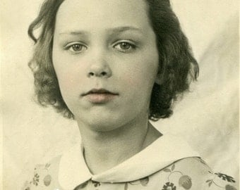 1940 Sweet Little Girl Vintage Photo. Digital Download. portrait, image, sepia, hand tinted, cute, instant, transfer, image, 314/P2/ES
