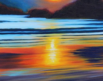 5x7 Greeting Card by Daina Scarola, Item #GC5X7-52 (summer, sunset, mountains, reflection, wet sand, ocean, seascape)