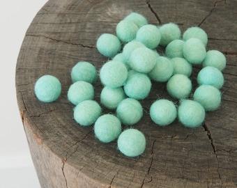 Felt Ball - Felt Bead - Felt Wool Ball 1 inch Bulk - Mint Felt Ball, Blue, Green, Brown, Pink Felt Ball 2cm - 10
