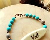 Cherokee Language, Turquoise Bracelet, Peace Bracelet, Corn Bead Jewelry, Native Style Jewelry, Tribal Jewelry, Tsalagi Jewelry, Unisex