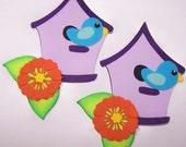 Blue Bird, Birdhouse, Bird, Flower, Feathers, Tweet, Twitter, Purple, Orange, Colorful, Scrapbooking, Paper Piecing, Card Toppers, Favor Tag