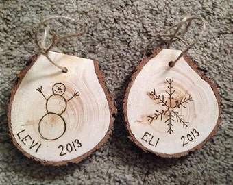 Wood Burned Christmas Ornament - Custom Name - 2016 - Snowman - Perfect Gift for Friends Family - Rustic - Couple's or Baby's First
