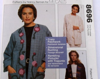 Mccalls 8696 Missed lined Jacket All Sizes Small to Plus Size 22, Patterns by Nancy Zieman