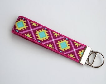 Key Fob - Tribal Pink and Aqua