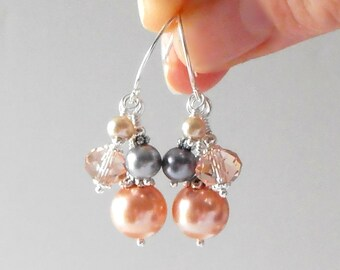 Peach Bridesmaid Earrings, Pearl and Crystal Bead Cluster Dangles, Peach and Gray Wedding Jewelry, Bridesmaid Jewelry Sets, Peach Bridal