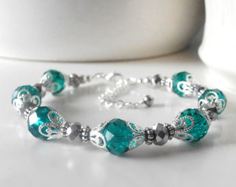 Teal Crystal Bracelets for Bridesmaids, Handmade Bridal Party Jewelry, Teal Wedding Sets, Crystal Jewellery, Teal Bridesmaid Bracelets