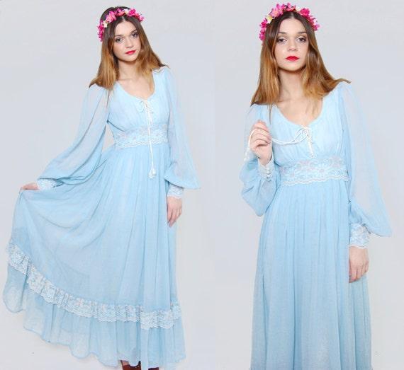 Vintage 70s GUNNE SAX Maxi Dress Baby Blue Empire Waist LACE Hippie Dress Boho Wedding Dress