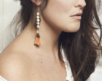 Lace earrings - Cali - Ivory lace with brass, recycled glass beads & sunset fringe