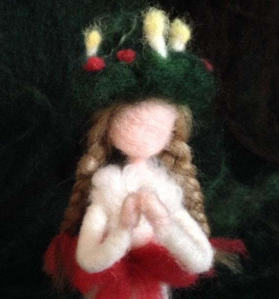 Needle Felted Santa Lucia Waldorf Doll