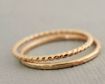 Gold Rings 1 Twist Ring and 1 Hammered Ring 2 thin gold filled stacking rings