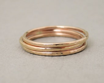 Rose Gold Rings three 16 gauge hammered rings stacking rings bluebirdss jewellery Australia
