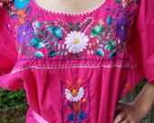 Mexican Dress, Embroidered Mexican, Pink Mexican dress, Cinco de Mayo dress,  Bird & flower dress, Frida Kahlo dress, size XL