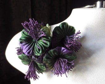Purple & Green Millinery Flower Velvet Yoyos for Boutonnieres, Hats, Bridal, Costumes MF 98