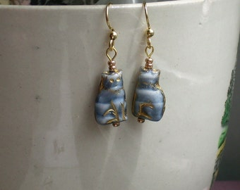 Blue Cat Gray Cat Czech Glass Earrings