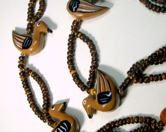 Brown DUCKS Wood Necklace, 4 Painted Water Birds, Vintage 1980s, Carved, Nice Earthy Colors