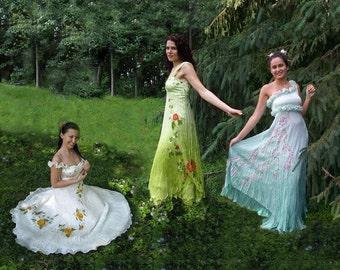 Hand painted silk dress wedding prom romantic roses