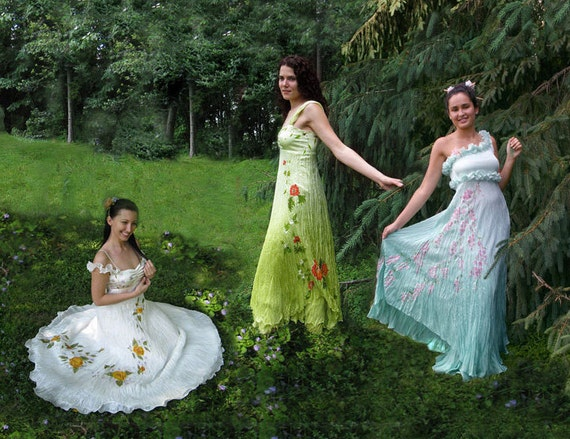 Hand painted silk gowns