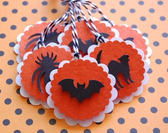 Orange, White and Black Halloween Gift Tags -- Set of 6 -- Ready to Ship