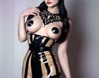 Latex Rubber Cage Skirt with braces