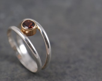 modern suspended garnet gemstone ring - 14k gold and silver, gold and silver ring, birthstone ring, red ring, fine jewelry, modern ring