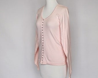 80's Pink Knit Shirt / Corset Style Hook & Eye Front / Moda Int'l / Small to Medium