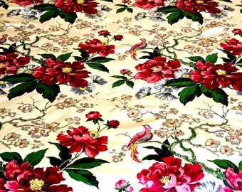 Climbing Red Roses with Exotic Birds// Mid Century Hollywood Regency//  Floral Fabric Yardage