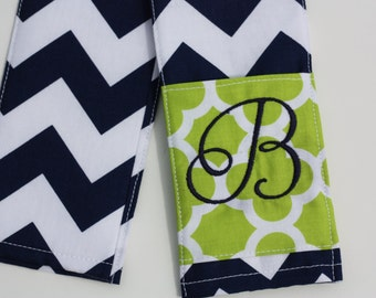 Camera Strap Cover- lens cap pocket and padding included- Monogrammed Navy Chevron/ Lime Quatrefoil