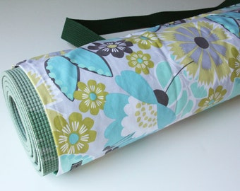 Yoga Mat Bag, Yoga Mat Sack, Yoga Mat Carrier, Blue, Lime, Gray and White Floral