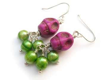 Magenta Skull with Green Pearl Day of the Dead and Halloween Earrings Happy Goth Rockabilly Punk Jewelry