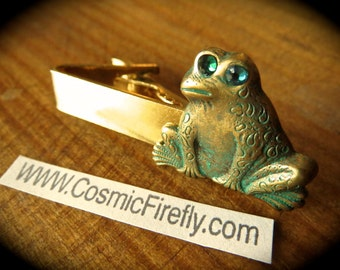 Steampunk Frog Tie Clip Green Frog Verdigris Brass Tie Clip Gold Tie Clip Men's Tie Clip Men's Gifts Prince Charming Green Crystal Eyes NEW