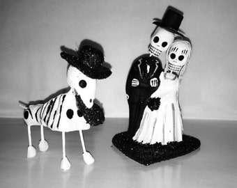 Bride and Groom and Dog Day of the Dead Wedding CakeTopper - Pet Cake Topper - Dog CakeTopper - Cat CakeTopper