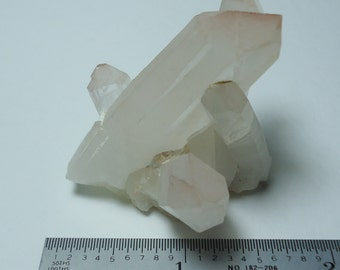 QUARTZ With Pink Hematite Tips 52 Gram Natural Terminated Crystal Cluster That Sits Upright From Madagascar