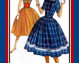Vintage 1957-RICK RACK DRESS-Sewing Pattern- Two Styles -Contrast Collar & Hem Band Ruched Wide Belt   Full Flirt Twirl Skirt- Size 12- Rare