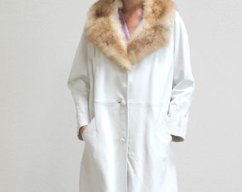 Vintage 50's White Leather and Fur Coat Size M/L