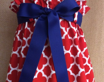 The Zadee Dress...Girls Red Quatrefoil Dress... Ruffle Top Dress with Interchangeable Ribbon Belt...Patriotic Dress...Game Day Dress