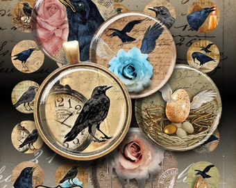 1 inch (25mm) and 1.5 inch RAVENS STORY printable circle images Digital Collage Sheet for pendants, magnets, bezels, charms, paper craft