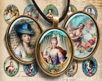 Oval 30x40 mm Images ROYAL EPHEMERA Digital Collage Sheet Printable Download for pendants bezel cabs magnets key chains and craft, art cult