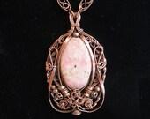 Rhodochrosite and Copper Pendant - Pale Pink