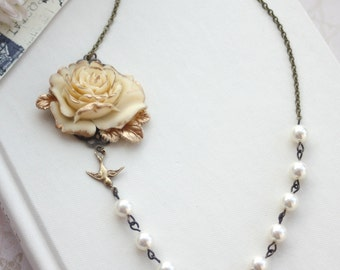Large Ivory Gold Rose, Brass Leaf, Flying Bird Ivory Pearls Flower Necklace. Bridesmaids Gift. Vintage Inspired Ivory Rustic Gold Wedding.