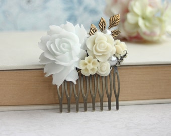White Rose Comb, Wedding Accessories,  Flower and Pearl, Antiqued Brass Rose Comb Vintage Style Comb, Mother of Bride Gift, Bridesmaids Gift